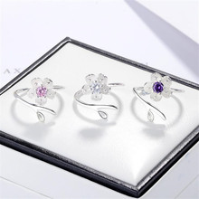 925-Sterling-Silver Jewelry Opening-Rings Blossom Flower Cherry Crystal New-Fashion SR643