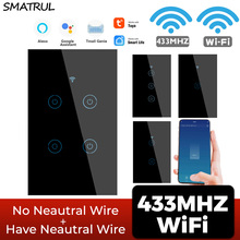 SMATRUL Tuya WIFI 433MHZ Wireless Touch US Wall Switch Light LED Smart Life Have No Neutral For Google Home Alexa 1/2/3/4 Gang