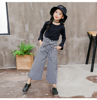 2019 Kids Girls Clothes Sets Long Sleeve T-shirts + Plaid Wide Leg Pants  Autumn Children's Clothing Teenage for 7 8 10 12 Years 3