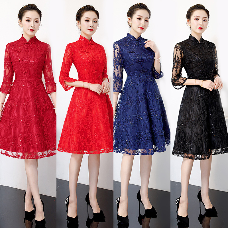 2020 Time-limited Real High Lace Bridesmaid Dresses The Bride Dress Toast Service Bridesmaids Sisters Served Dinner Party Daily