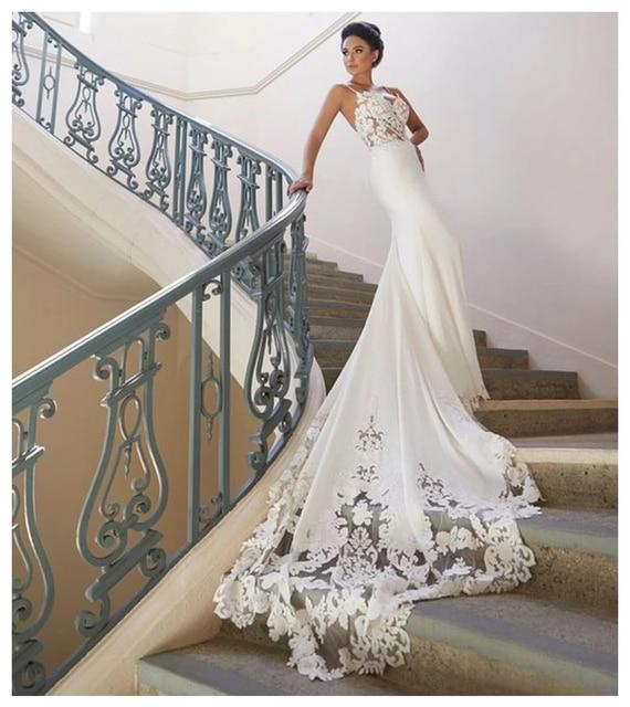 Backless Wedding Dresses Mermaid Spaghetti Straps Satin Appliques Dubai Arabic Wedding Gown Bridal Dress Vestido De Noiva 2