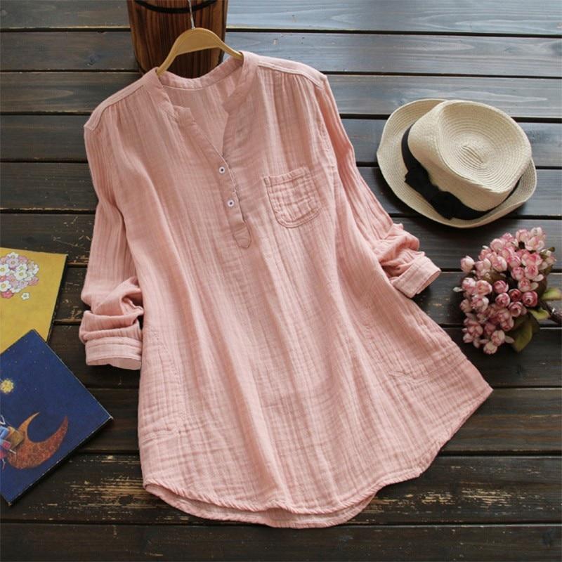 Cotton and Linen Long Sleeve Lady Shirt  Halal City Mart