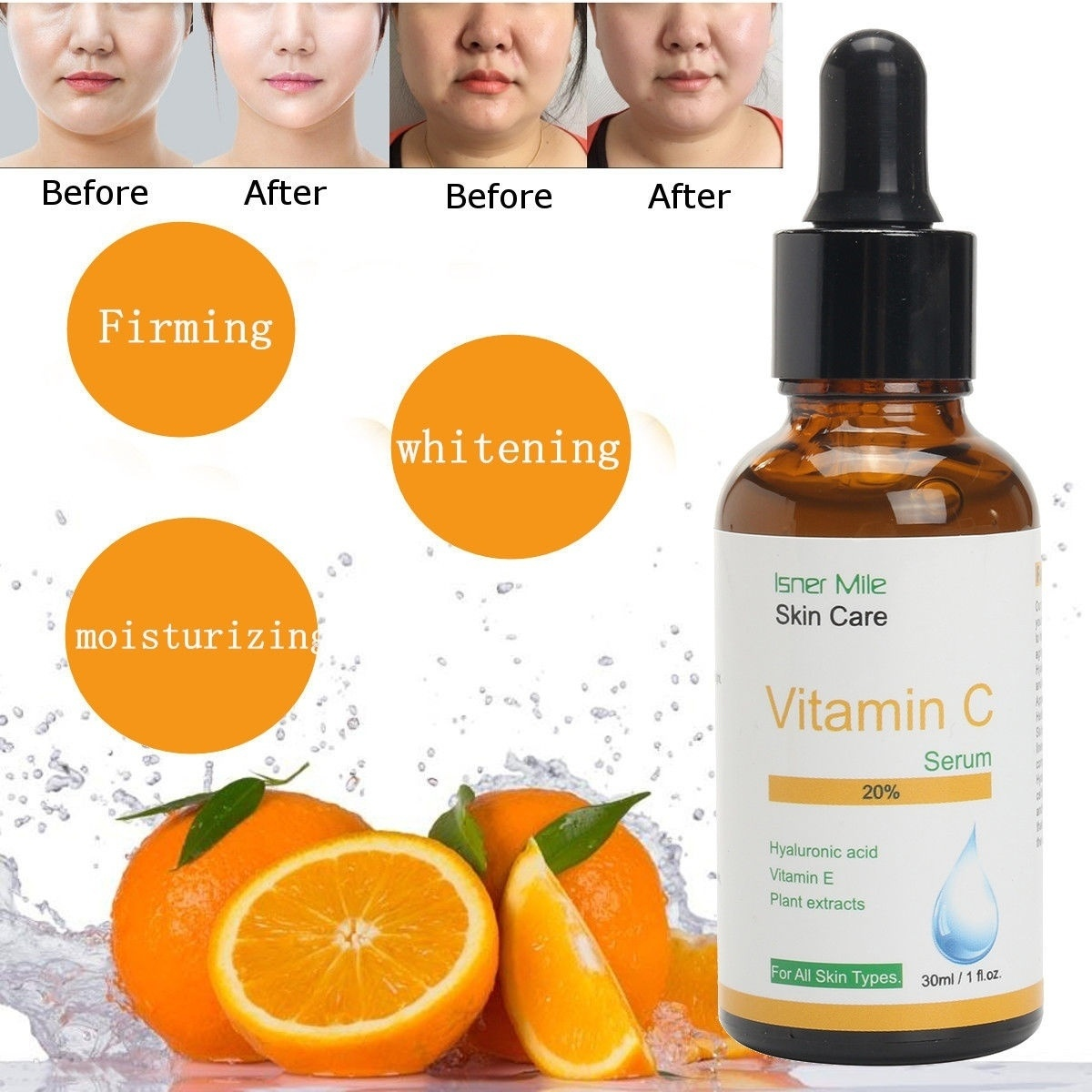 Pure Vitamin C Hyaluronic Acid Serum 20% For Face   BEST Anti Aging Sample