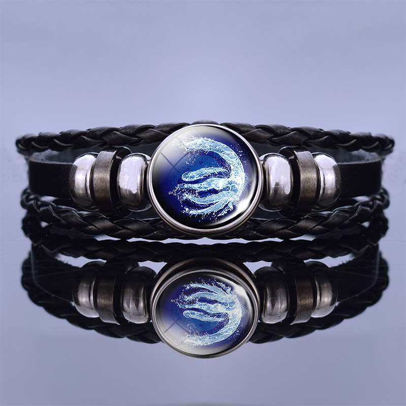 Black Leather Bracelet <font><b>Avatar</b></font>:The Last Airbender Fire Nation Logo Anime Bangles Jewelry <font><b>Aang</b></font> Prince Zuko Cosplay Christmas Gift image