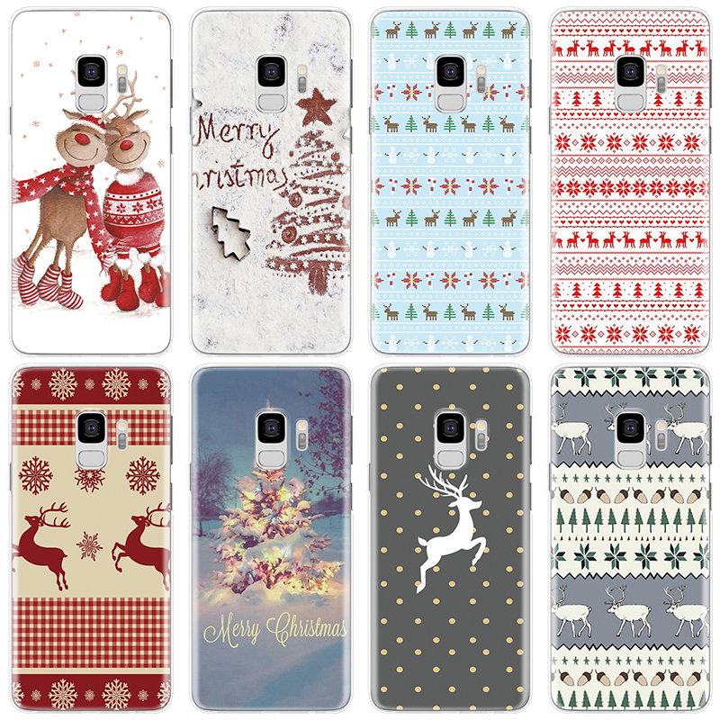 For Coque Samsung Galaxy A7 A9 A8 A6 Plus 2018 A40 A50 A70 A5 2016 2017 A20 A10 A30 A60 Note <font><b>8</b></font> <font><b>9</b></font> <font><b>5</b></font> Merry Christmas Case Cute TPU image