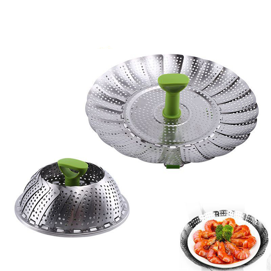 36 Pcs Vegetable Steamer Insert Stainless Steel Folding Strainer Basket For Veggie Fish Seafood Vapor Cooker Wholesale
