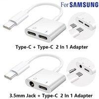 Adapter typu C rozdzielacz 2 w 1 do Samsung Galaxy S21 S20 FE uwaga 20 Ultra uwaga 10 Plus USB C do 3.5 Jack słuchawki kabel Audio