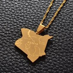Anniyo (3cm) mapa do quênia & cidade pingente colares jóias cor prata/cor do ouro jóias africanas kenyans mapa queniano