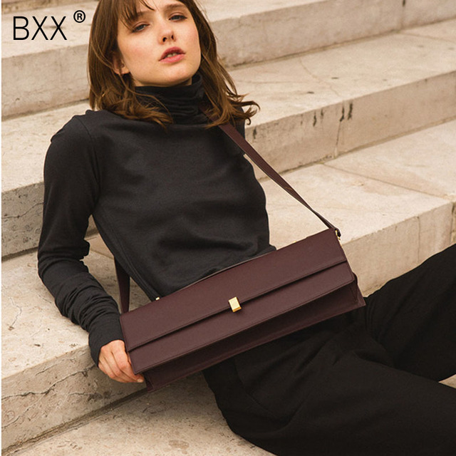 [BXX] עור מפוצל Crossbody שקיות עבור נשים 2020 מותג מעצב טוטס ליידי מוצק צבע כתף שליח תיק נשי תיק HJ030
