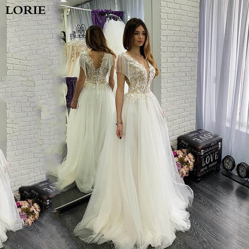 LORIE Sexy Boho Wedding Dress A Line With Tassel V Neck Appliqued Lace Bride Dresses Corset Wedding Gown Vestidos De Novia