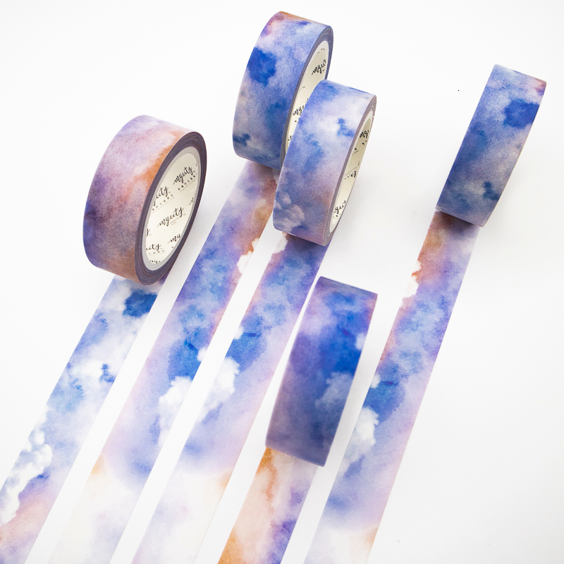 Colored Clouds Washi Tape Sticky Color Decorative Masking Paper Tape Set DIY Decoration Office Stationery Scrapbook 1PCS