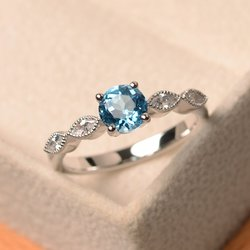 Женское кольцо из серебра 925 пробы с голубым топазом и бриллиантами, модное роскошное кольцо из циркона, ювелирные изделия, оптовая продажа