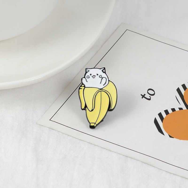 Caitoon Banana Gatto Hedgehog Spille per Le Donne Carino Frutta Animale BadgeJewelry Dello Smalto Spille Vestiti Zaino Accessori Del Sacchetto
