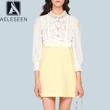 AELESEEN Lace Dress Elegant Vestidos Summer 2020 Office Women Mini Short Luxury Beading Pearls a Line Robe Femme Ropa Mujer