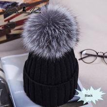 Hat Cap Fur Pompon Beanies Knitted Bobble Warm Girl Winter Women Casual Pom-Pom