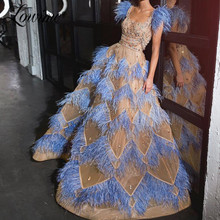 Blue Feather Beaded Evening Dress A Line Custom Champagne Prom Dresses New Couture Crystals Arabic Dubai Wedding Party Gowns