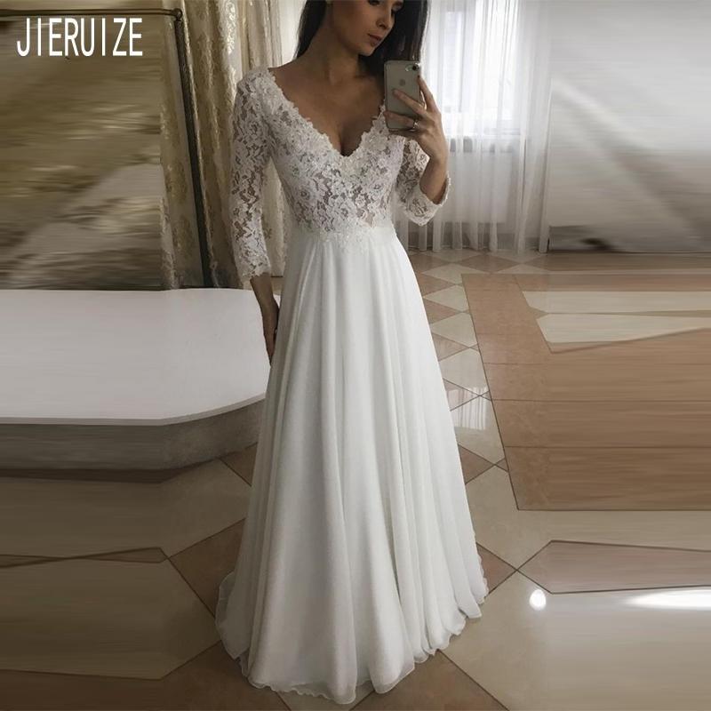 JIERUIZE Boho Wedding Dress V-Neck Long Sleeves Button Back Lace Chiffon Bohemian Wedding Gowns Bride Dresses Vestidos De Novia