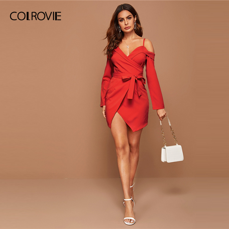COLROVIE Bright Red Asymmetrical Neck Belted Wrap Dress Women Solid Long Sleeve Mini Dress 2020 Spring Sexy High Waist Dresses 2