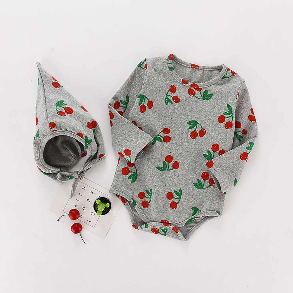 Боди для новорожденных девочек; хлопковые боди с длинными рукавами и принтом; шапочка; комплект повседневной зимней одежды для маленьких мальчиков; домашняя пижама