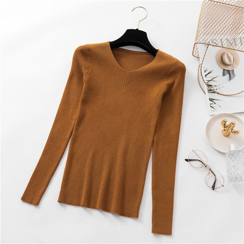 Women Soft V-Neck Slim Swearters Basic Long Sleeve Solid Pullovers Tops Female Knitted Multi-Color Sweater Female Warm Jumper