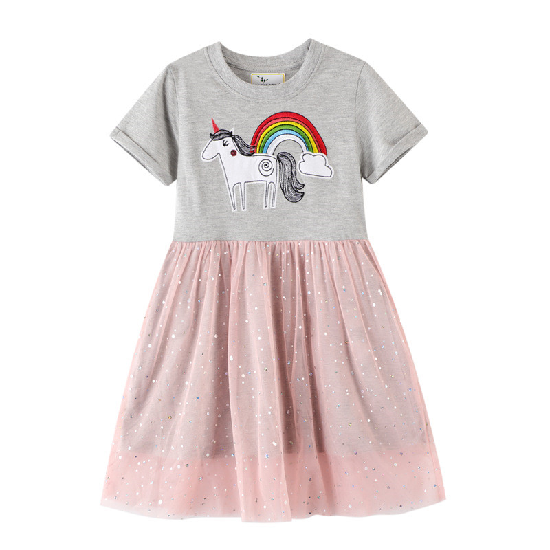 Jumping Meters  Top Brand New Unicorn Princess Tutu Dresses Cotton Animals Girls Clothing Summer Lace Rainbow Kids Girls Dress