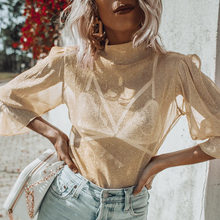 Women Mesh Sheer Bling tees See Through Tops Frilly Lantern Sleeve Shirts Long Sleeve Turtle Neck Casual Loose Sexy Shirt(China)