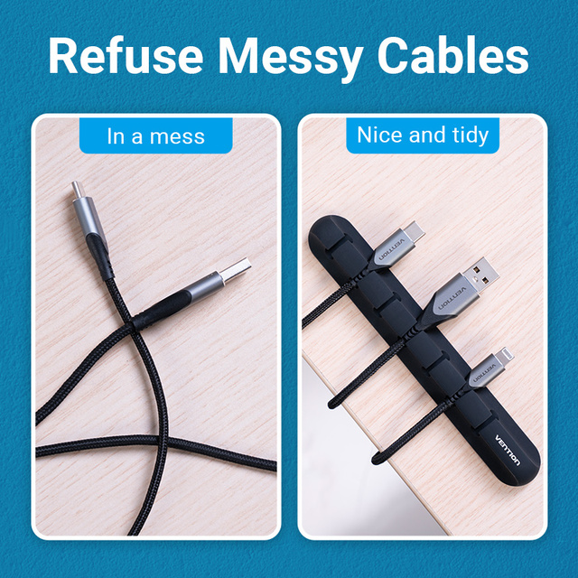 Vention Cable Organizer Silicone USB Cable Winder Desktop Car Management Clips for Data Headphone Earphone Mouse Wire Organizer 5