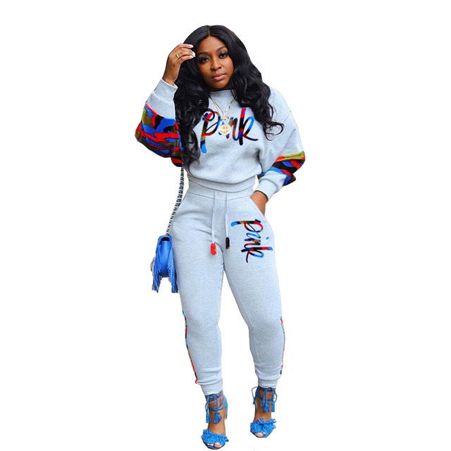 $ US $20.83 Pink Letter Embroidery Two Piece Set Plus Size Tracksuit Women Full Sleeve Sweatshirt Casual Pants Club Outfits Jogging Femme