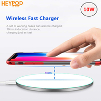 HEYPOD Wireless Charger For iPhone 8 Plus XR 11 10W Fast Wireless Charging Pad For Samsung Note 9 Note 5 S10 Plus For LG V30|Wireless Chargers|   -