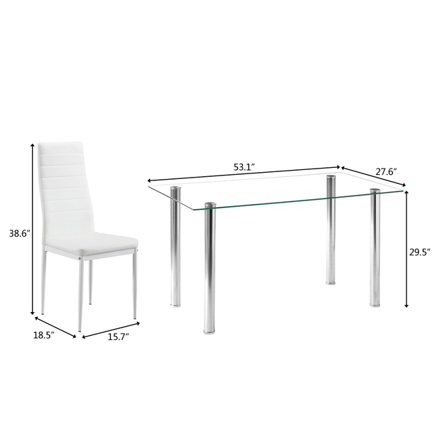 Dining Table Set Simple Transparent Glass&Iron Dinner Table + 6pcs Elegant Stripping Texture High Backrest Dining Chairs White 2