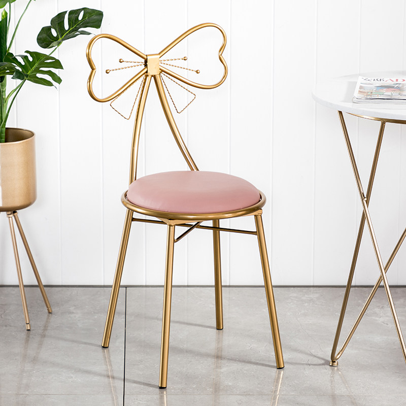 Makeup Stool Dining Chair Dressing Table Stool Iron Art Modern Simple Kitchen Living Room Bedroom Indoor Coffee Tea Dinner Chair