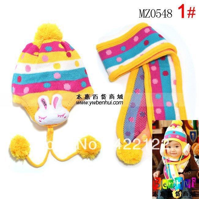 Winter Keep Warm Knitted Hats For Boy/girl/kits Hats,infants Caps Beanine Chilldren-LOVE Rabbit Scarf, Hat Mz0548-1pcs