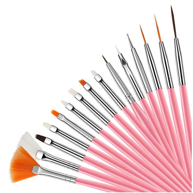 15pcs Long Tail Brush Pen Plastic Handle Pull Hook Line Pen Nail Artists Set Short Miniature Detail Soft Acrylic Oil Art Escolar 1