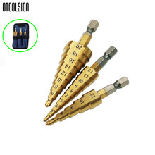 3 pcs/set Step Drill Set Hole Drill Metal Drill Set Cone Drill 3-12/4-12/20mm Step Drill Bit Set Drill For Metal Electric Drill(China)