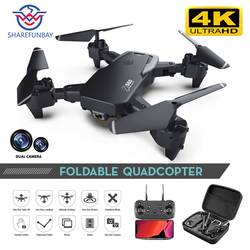 Sharefunbay zangão 4k hd câmera grande angular 1080 p wifi fpv zangão câmera dupla quadcopter altura manter zangão câmera