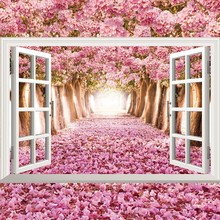 3D stereo wall stickers simulation fake window landscape marine lavender cherry blossom sunflower decorative