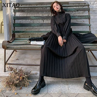XITAO Thick Fake Two piece Dresses Vintage High Waist Fashion Pleated Dress Women Long Sleeve Turtleneck Women Clothes DMY2693