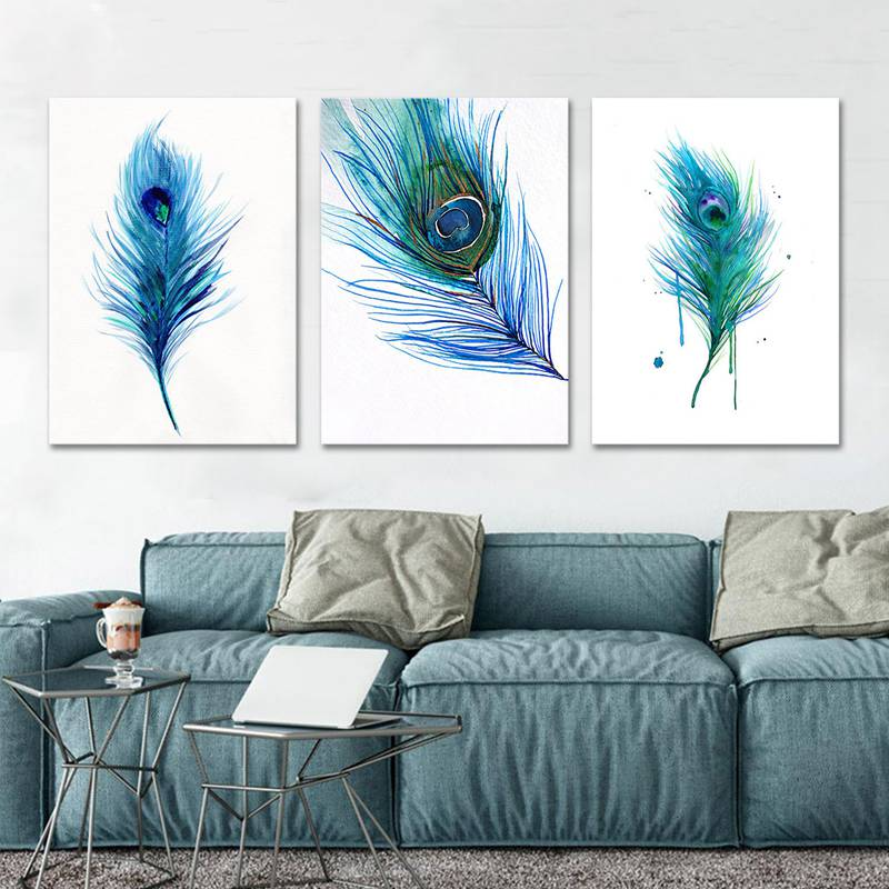 Modern Nordic Poster Blue Peacock Feather Home Decor Wall Art Print Canvas Painting Livingroom Pictures Decoration Painting Calligraphy Aliexpress