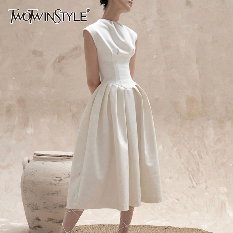 TWOTWINSTYLE Elegant White Women Dress O Neck Sleeveless High Waist Midi Ruched Casual Dresses For Female Fashion Clothing Tide