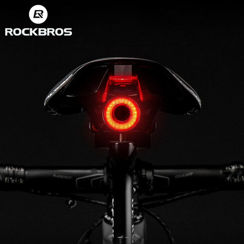 ROCKBROS Bicycle Smart Brake Sensing Light Auto Start IPx6 Waterproof LED Charging Cycling Taillight Bike Rear Light Accessories