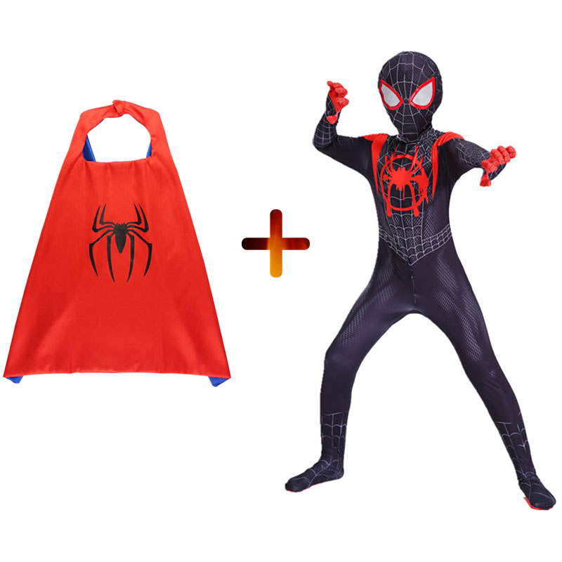 New adult Kids Spider-Man Into the Spider-Verse Miles Morales Cosplay Costume Zentai Spiderman Pattern Bodysuit Suit Jumpsuits image
