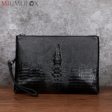 Men Clutch Bag Large Capacity Mens Wallets Genuine Leather Long Purse Alligator Pattern Male Business Handbag Paperwor Cover Bag