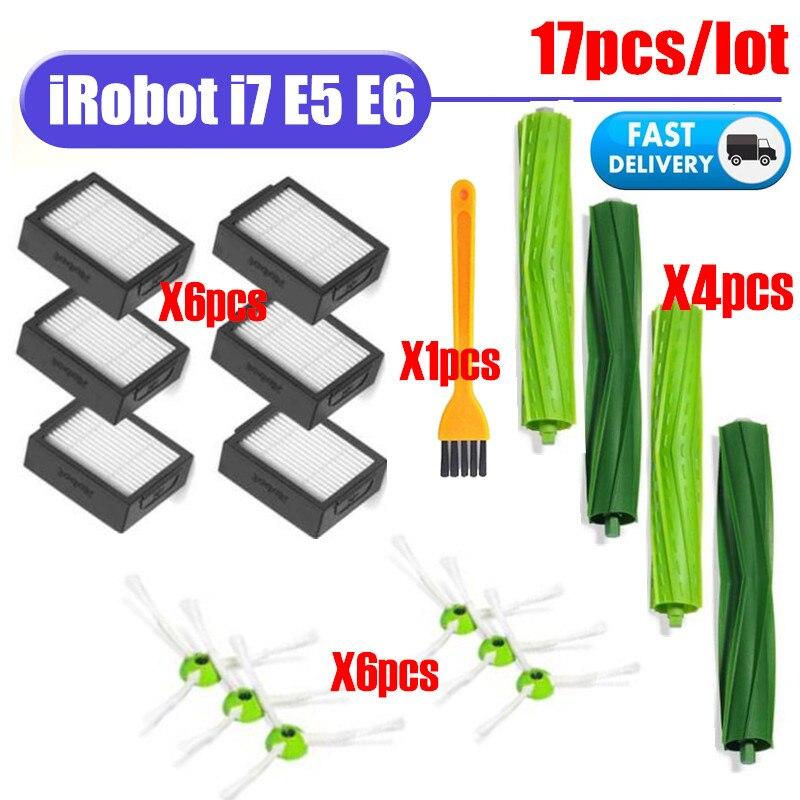 Acessórios rolo escova escova lateral hepa filtro para irobot roomba i7 e5 e6 i série robô aspirador de pó peças reposição