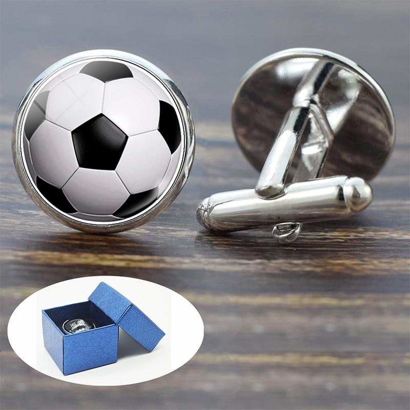 Soccer Cufflinks For Men Silver Suit Shirt Best Man Cufflinks Set Football Basketball Jewelry Sports Glass Dome Cuff Links Gifts