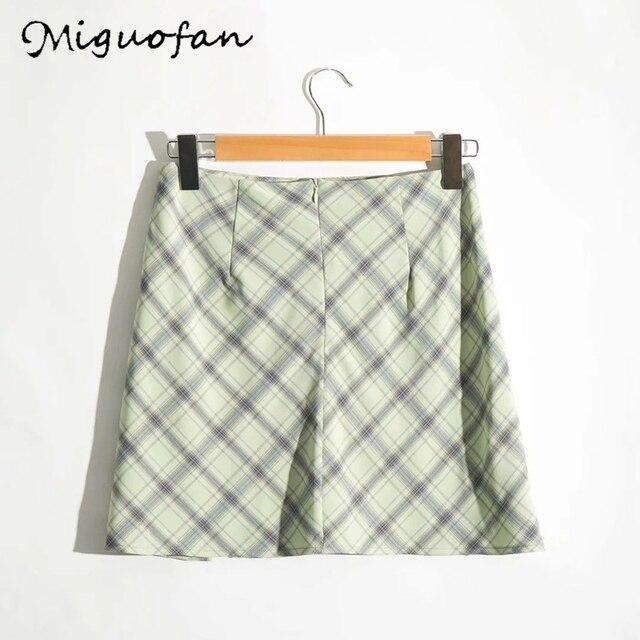 Miguofan green plaid printting skirts high split high waist Skirts for women high waist skirts vintage female  lady spring 2020 8