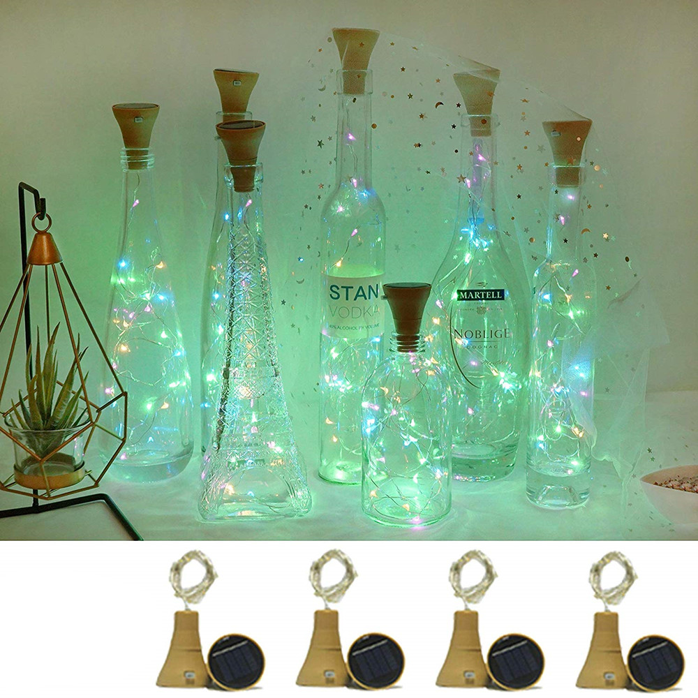 5 Packs Solar Powered Wine Bottle Cork Shaped LED Copper Wire String Outdoor Light For Home Wedding Garden Pathway Decor