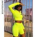 BOOFEENAA флуоресцентный сексуальный женский комплект 2 шт. спортивный костюм короткий топ с длинными рукавами и байкерские шорты комплекты оди...