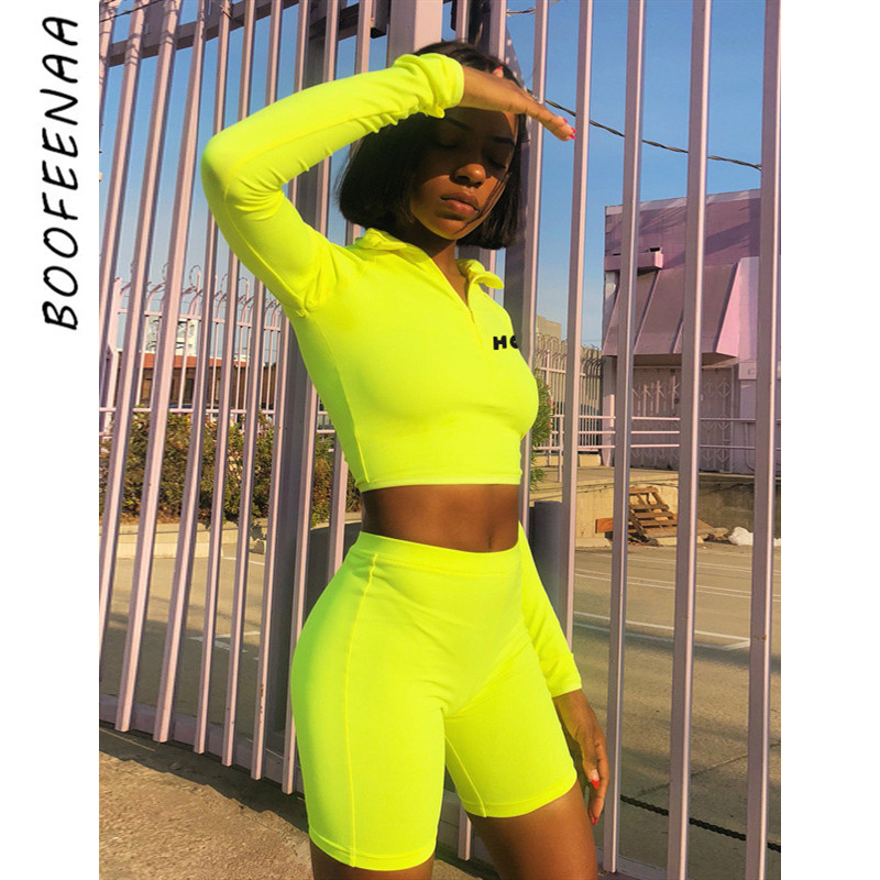 BOOFEENAA Fluorescent Sexy 2 Piece Set Women Tracksuit Long Sleeve Crop Top And Biker Shorts Matching Sets Neon Sweatsuit C70AD9