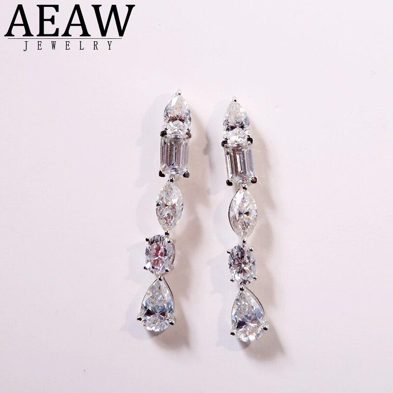 AEAW 18K blanc/jaune/or Rose 5.2ctw poire taille Lad bague diamant Moissanite boucles d'oreilles pour femmes pour fille Gife