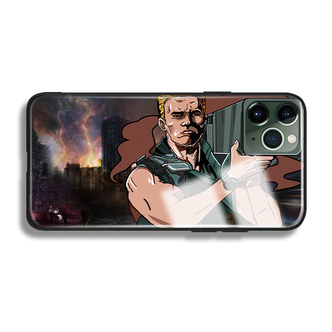 H67b39f5f48894a00983c1498efc0ec0dt Arnold Schwarzenegger movie Commando 1985 poster glossy smooth tempered glass case For Apple iPhone 11 PRO MAX i11 pro coque